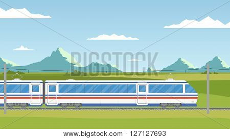 The train moves on railway against the backdrop mountain landscape. Summer vacation. Time to travel banner. Wanderlust. Train trip in the flat style.
