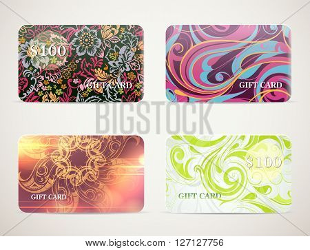 Set of cards designs for gift cards, vouchers and coupons templates