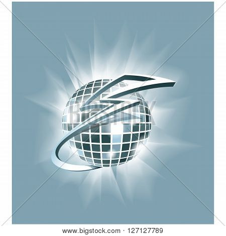 Abstract Vector illustration: disco club mirror ball (glitter ball) with cartoon lightning around it. Can be used as logo or icon element.