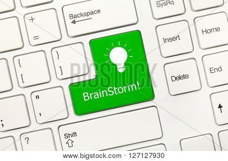 White Conceptual Keyboard - Brainstorm (green Key With Lamp Symbol)