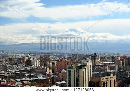 City view of Yerevan and Ararat mountain