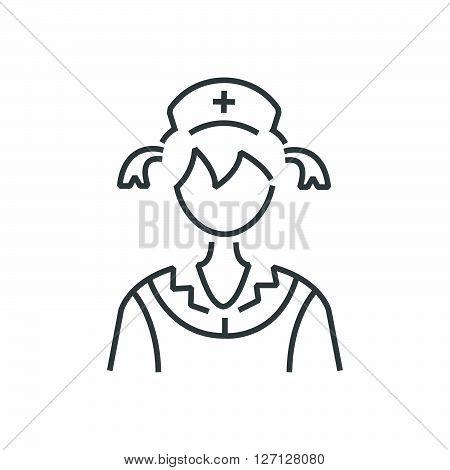 Line Icon Woman Nurse Icon, Old Clothe Style