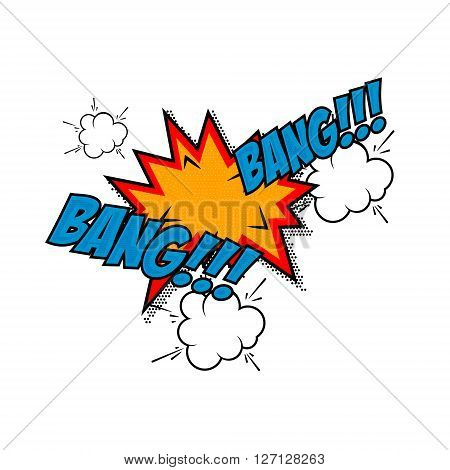 Bang-bang!!! Comic style phrase isolated on white background. Design element in vector.