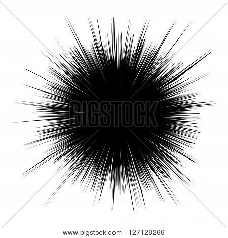 Black hole illustration. Illustration of Explosion. Radial lines abstract background. Design element in vector