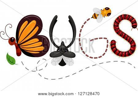 Typography Illustration Featuring Insects Spelling Out the Word Bugs