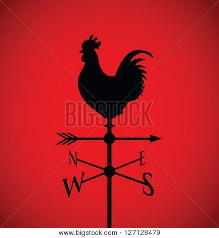 a red and black cockerel on a weather post