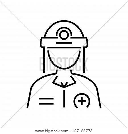 Line Icon Rescuers, Medical Avatar Icon Design