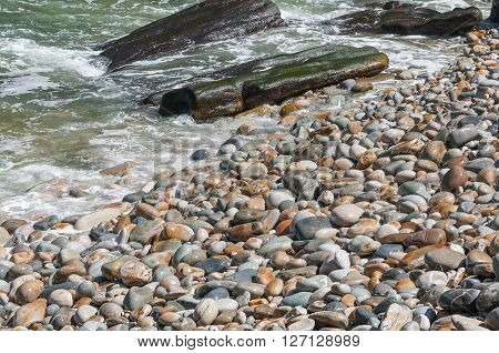 A pebble beach on the Eastern Cape coast of South Africa