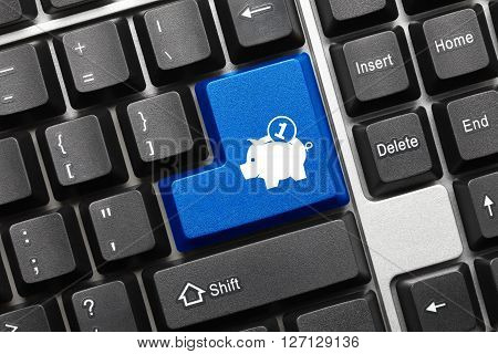 Conceptual Keyboard - Blue Key With Moneybox Symbol