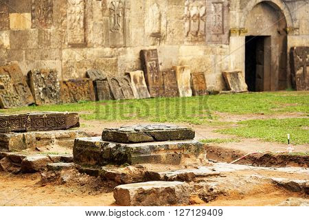 Sacred place at ancient monastery Tatev in the mountains of Armenia. Was founded in year 906.