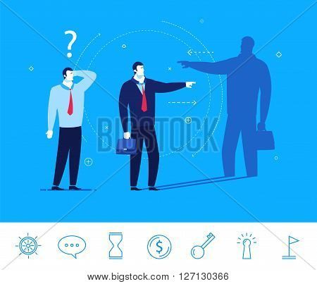 Flat design vector concept illustration. Businessman shows the direction of development. Good profit. Vector clipart. Icons set.