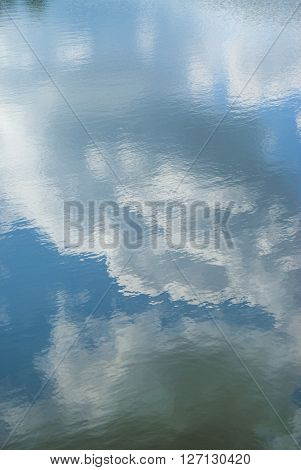 Clouds And Blue Sky Reflected In The Water Of The Lake