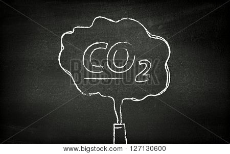 CO2 illustrated on blackboard