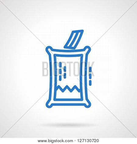 Glass box with paper for voting. Transparent elections. Referendum sign. Simple blue line vector icon. Single element for web design, mobile app.