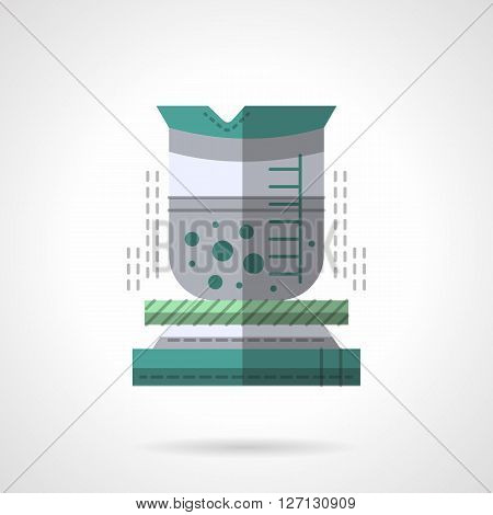 Lab beaker with boiling liquid. Chemical laboratory research. Science and education. Chemical industry and technology.  Flat color style vector icon. Web design element for site, mobile and business.