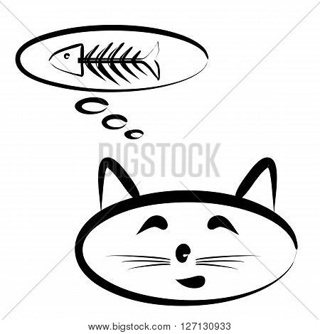 Sketch with a brush head cat. The cloud of thoughts and fish skeleton. Isolated on white background.