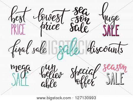 Shopping retail sale discount lettering set. Calligraphy label graphic design lettering element. Hand written calligraphy style signs. Hand craft decoration element. Huge Season sale Final discounts