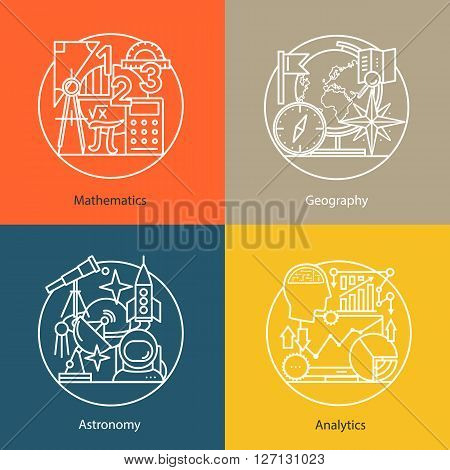Vector set of logos mathematics, geography, astronomy, analytics. Modern thin line icons. The modern concept of a collection of vectors. Unique design elements for your company. Labels for school, College and University.