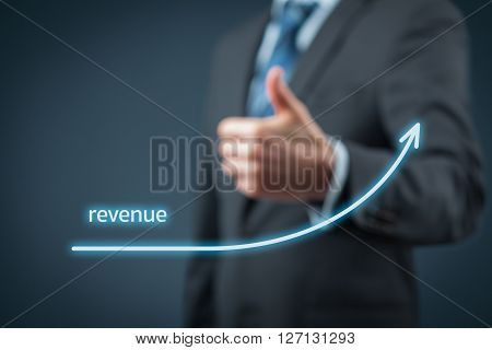 Increase revenue concept. Businessman is satisfied with company revenue growth.