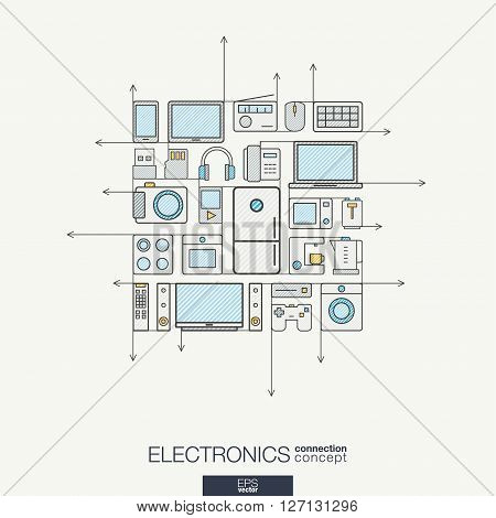 Electronics integrated thin line symbols. Modern color vector concept, with connected flat design icons. Abstract background illustration for multimedia shop, household and market concepts