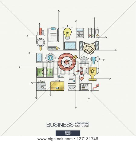 Business integrated thin line symbols. Modern color style vector concept, with connected flat design icons. Illustration for strategy, service, analytics, research, career, digital marketing concepts