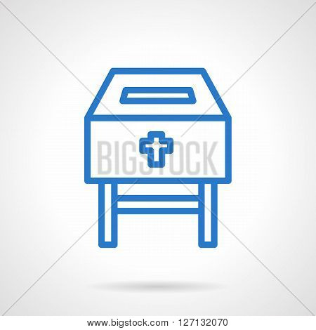Charity in religion. Fundraising symbol. Donation box. Charitable foundation for aid. Simple blue line vector icon. Single element for web design, mobile app.