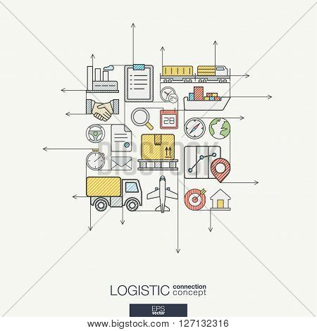 Logistic integrated thin line symbols. Modern color style vector concept, with connected flat design icons. Illustration for delivery, service, shipping, distribution, transport, communicate concepts