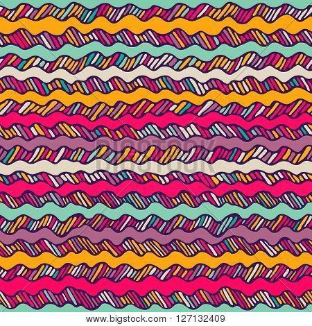 Seamless Pattern With Hand Drawn Wavy Lines