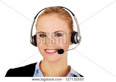 Smiling phone operator in headphones