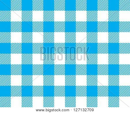 Blue tablecloth background seamless pattern. Vector illustration of traditional gingham dining cloth with fabric texture. Checkered picnic cooking tablecloth.