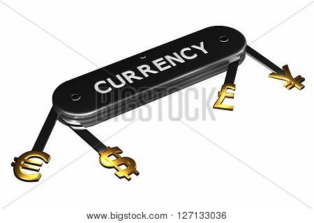 Concept: currency sign on knife isolated on white background. 3D rendering.