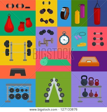 Vector illustration of sports, fitness, gym or crossfit equipments: dumbbells, mat, yoga, bar, fitness tracker, stopwatch.Elements for design website about sport, crossfit or fitness, healthy lifestyle
