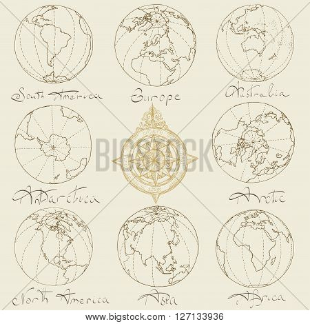 Vector illustration. Map atlas continents. Brown on a light background.