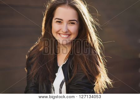 Lovely portrait of pretty smiling woman, happy stylish,glamour girl, long dark hairs, positive emotions, white teeth
