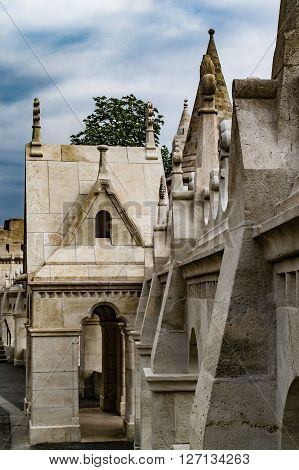 Walls of Fisherman's Bastion's in Budapest at Old Town district