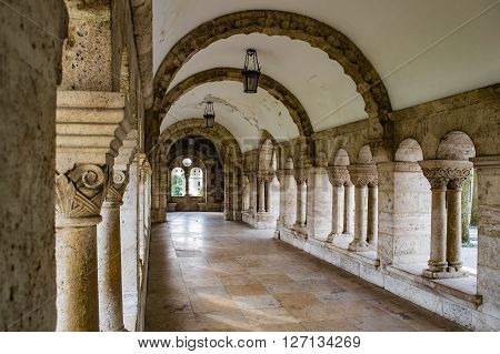 Fisherman's Bastion's arches in Budapest at Old Town district