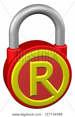 Concept: padlock with sign trademark. Isolated on white background. 3D rendering.