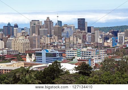 DURBAN SOUTH AFRICA - APRIL 8 2016: Above view of buildings of city skyline in Durban South Africa