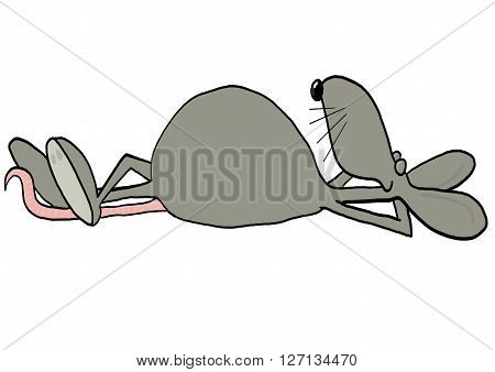Illustration of a rat daydreaming while laying on its back with legs crossed.