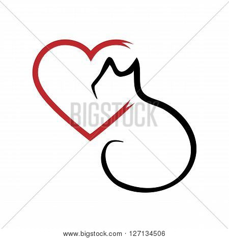 Silhouette of a cat and a heart. Outline brush. Abstraction. Isolated. Black and red.