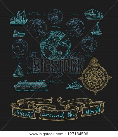 Vector illustration. Map atlas continents. Blue on a black background.
