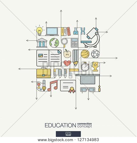 Education integrated thin line symbols. Modern color vector concept, with connected flat design icons. Abstract background illustration for elearning, knowledge, learn and global concepts.
