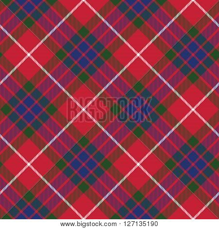 fraser tartan seamless pattern diagonal fabric texture. Vector illustration. EPS 10. No transparency. No gradients.
