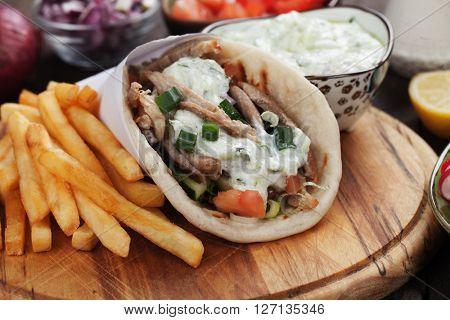 Gyros, greek wrapped sandwich similar to turkish doner kebab
