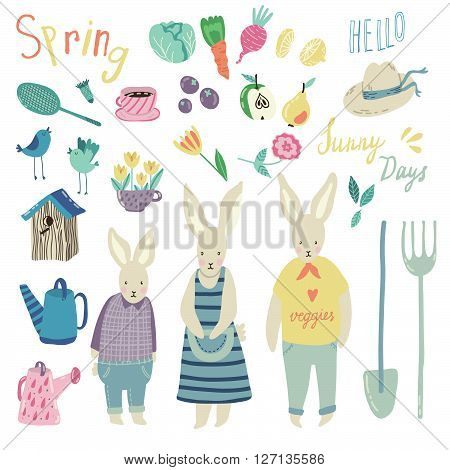 Spring Garden vector set. Adorable childish illustrations with gardening supplies, rabbits, fruits and veggies. Perfect for scrapbooking paper, textile, stationary and web.
