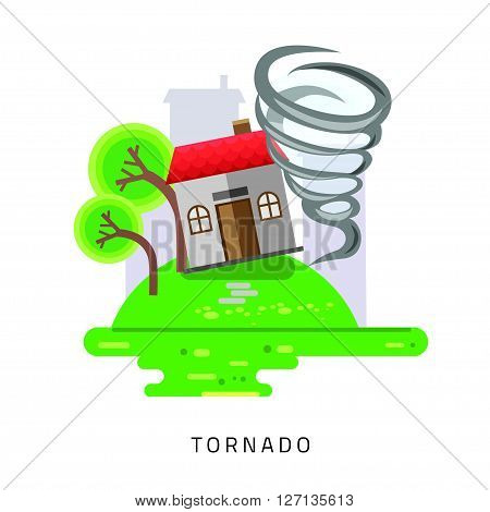 Tornado swirl damages village house roof vector illustration in flat style
