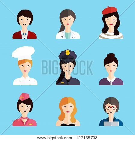 Set Of Colorful Profession Woman Flat Style Icons: Businessman, Doctor, Artist, Designer, Cook, Poli