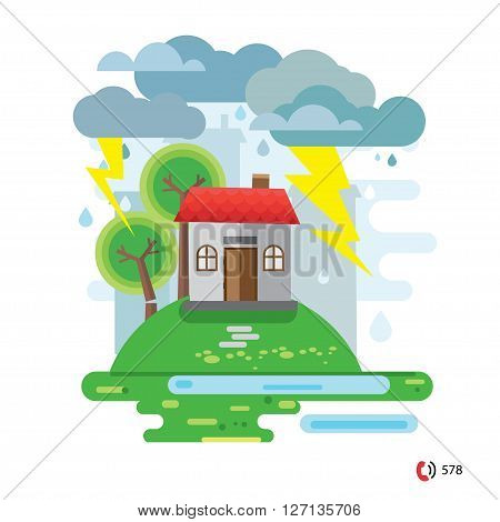 Storm and rain, House damaged by a fallen tree, vector illustration, no transparencies