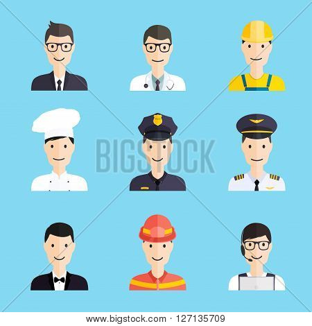 Set Of Colorful Profession Man Flat Style Icons: Businessman, Doctor, Artist, Designer, Cook, Police