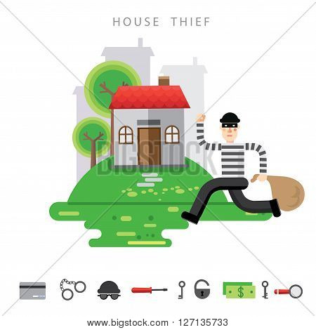 Theft Insurance Colourful Vector Illustration flat style with icon